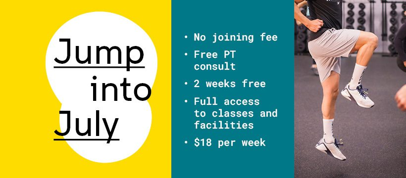 Image of the UNSW FAC Jump Into July Promotional Flyer Outlining Inclusions in the Offer and Cost ($18 per week)