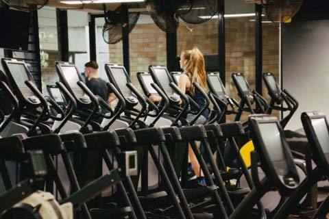 Image of cardio equipment at the UNSW Fitness and Aquatic Centre with a woman and man running on treadmills